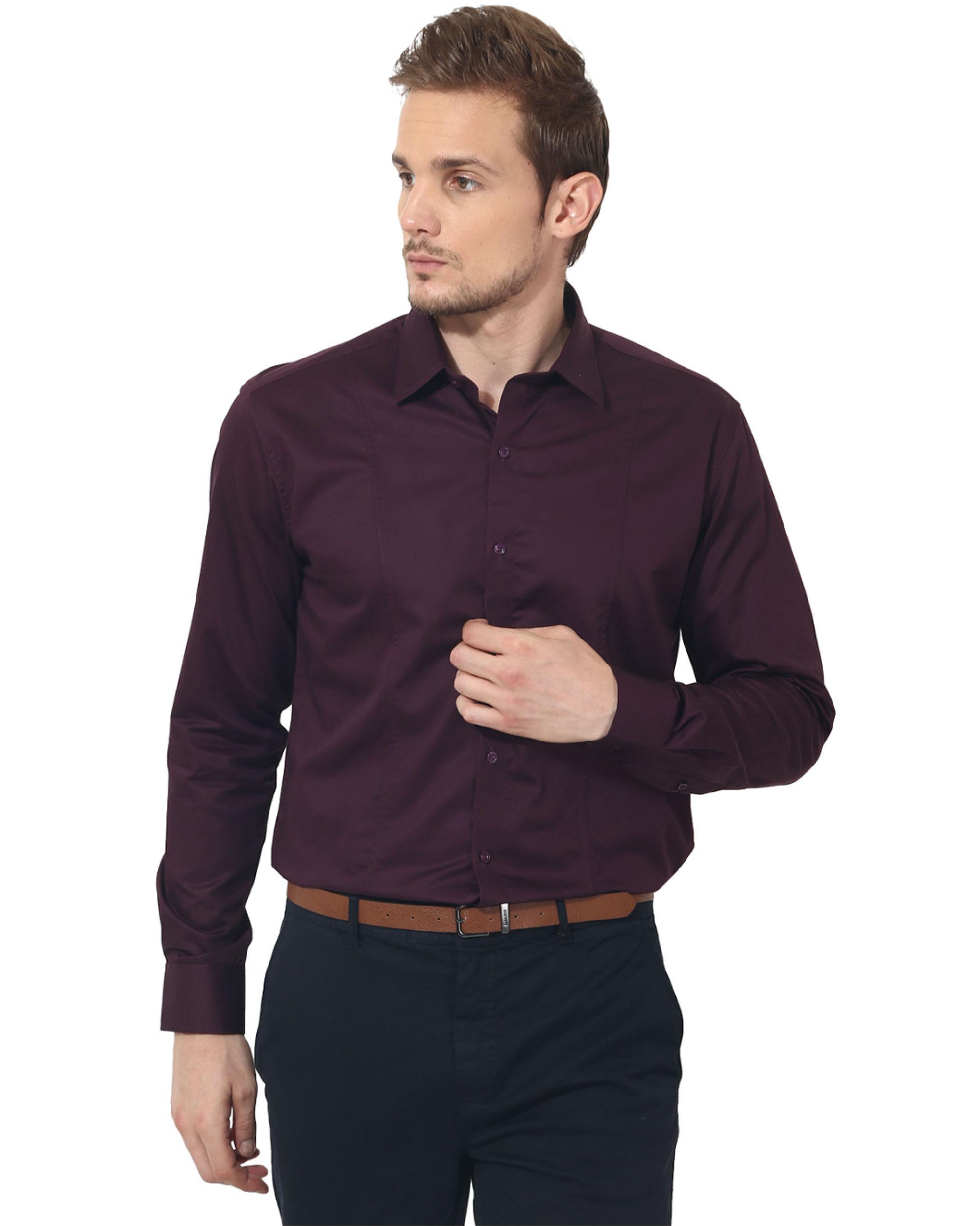 Maroon solid club wear shirt