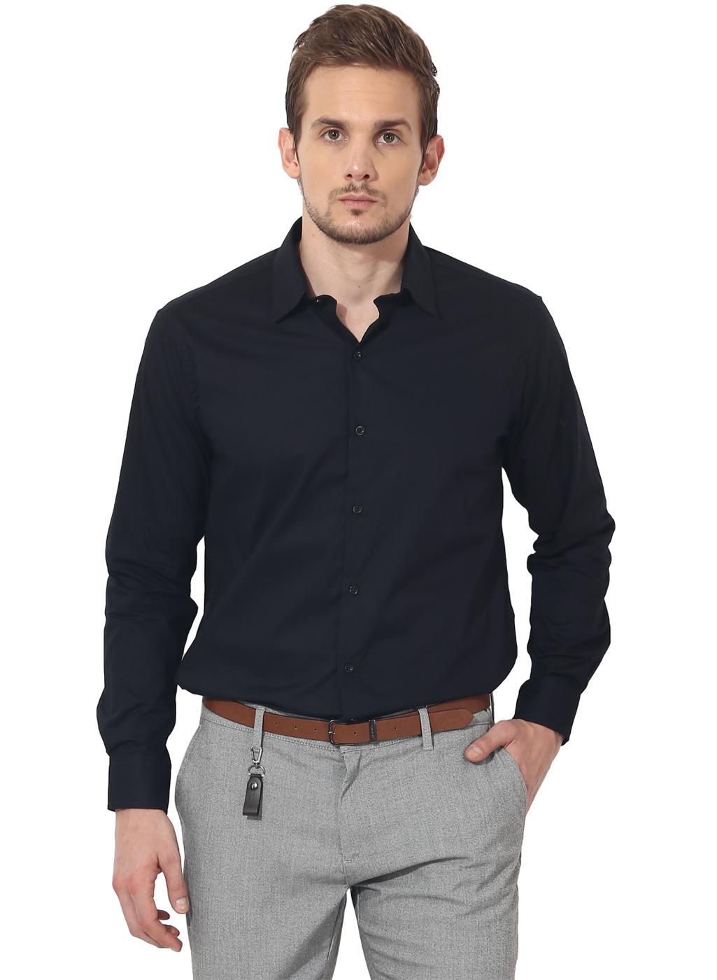 Black bon solid club wear shirt