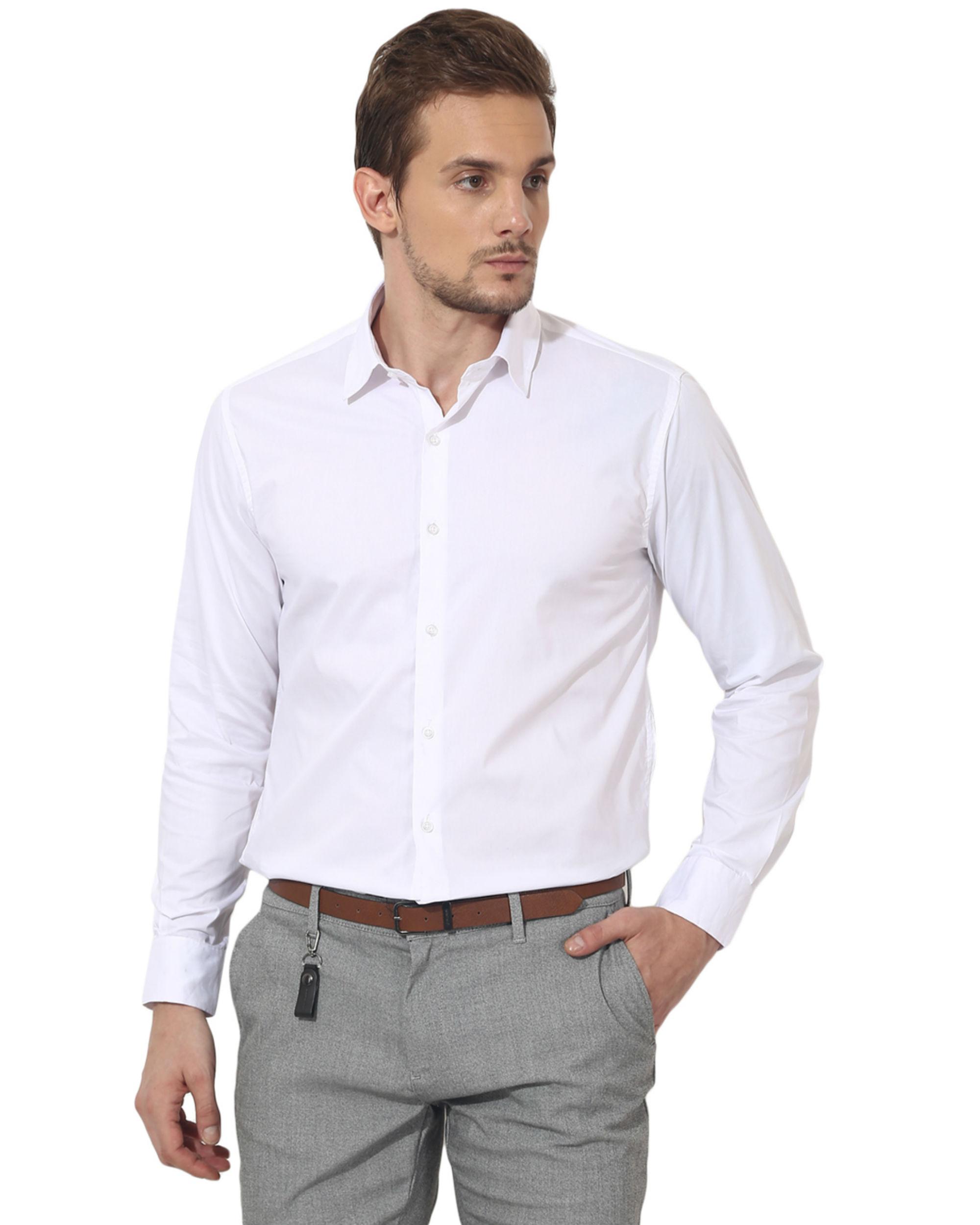 White bon solid club wear shirt