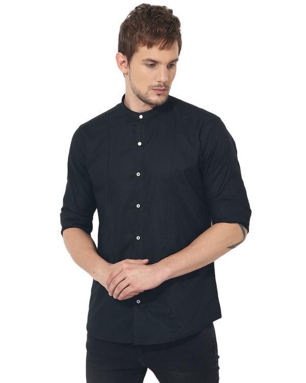 Black mandarin solid club wear shirt