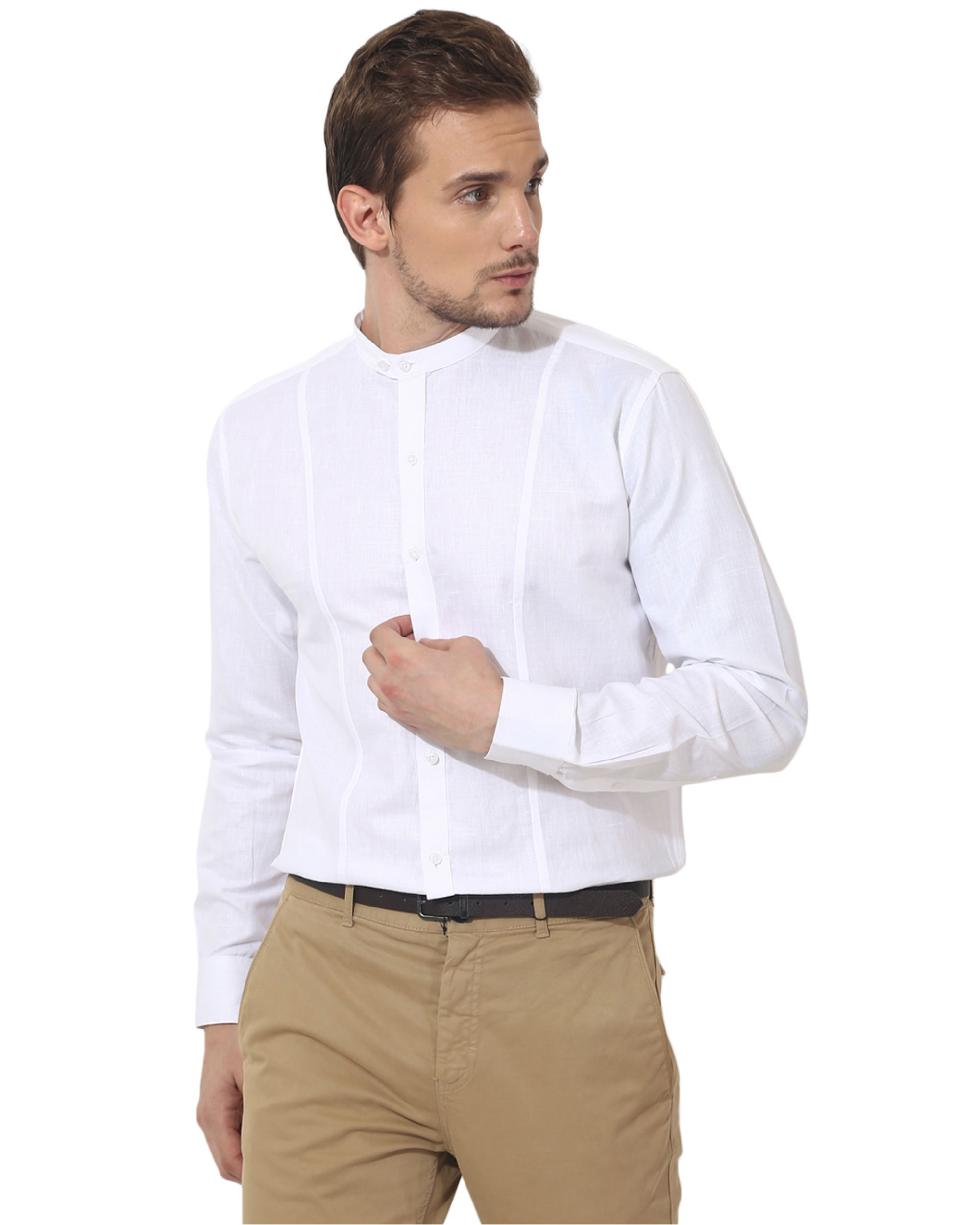 White mandarin solid club wear shirt