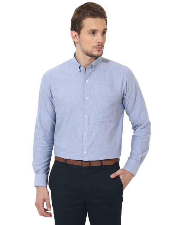 Sky blue oxford solid club wear shirt