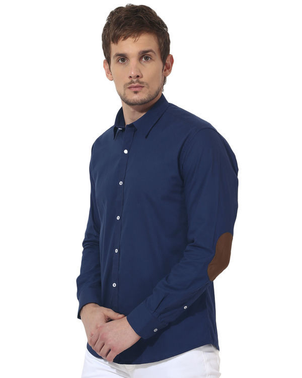 Blue golden elbow patch solid club wear shirt