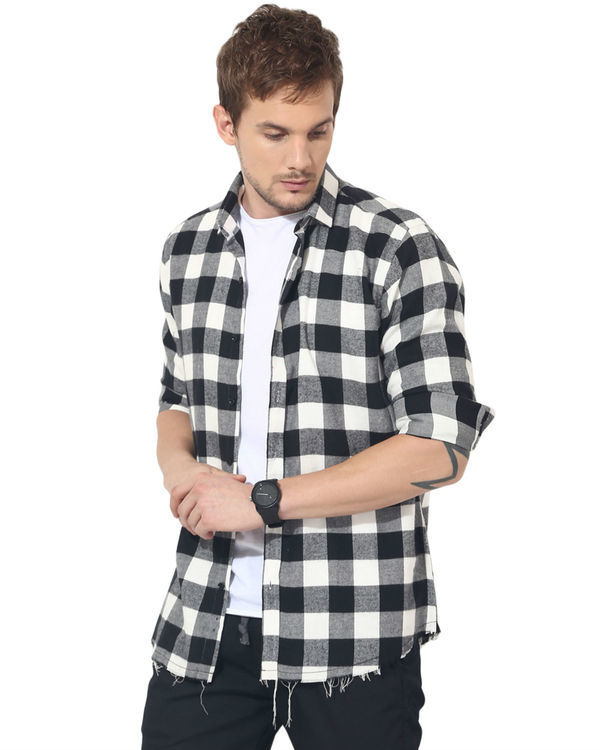 Black & white checks casual shirt