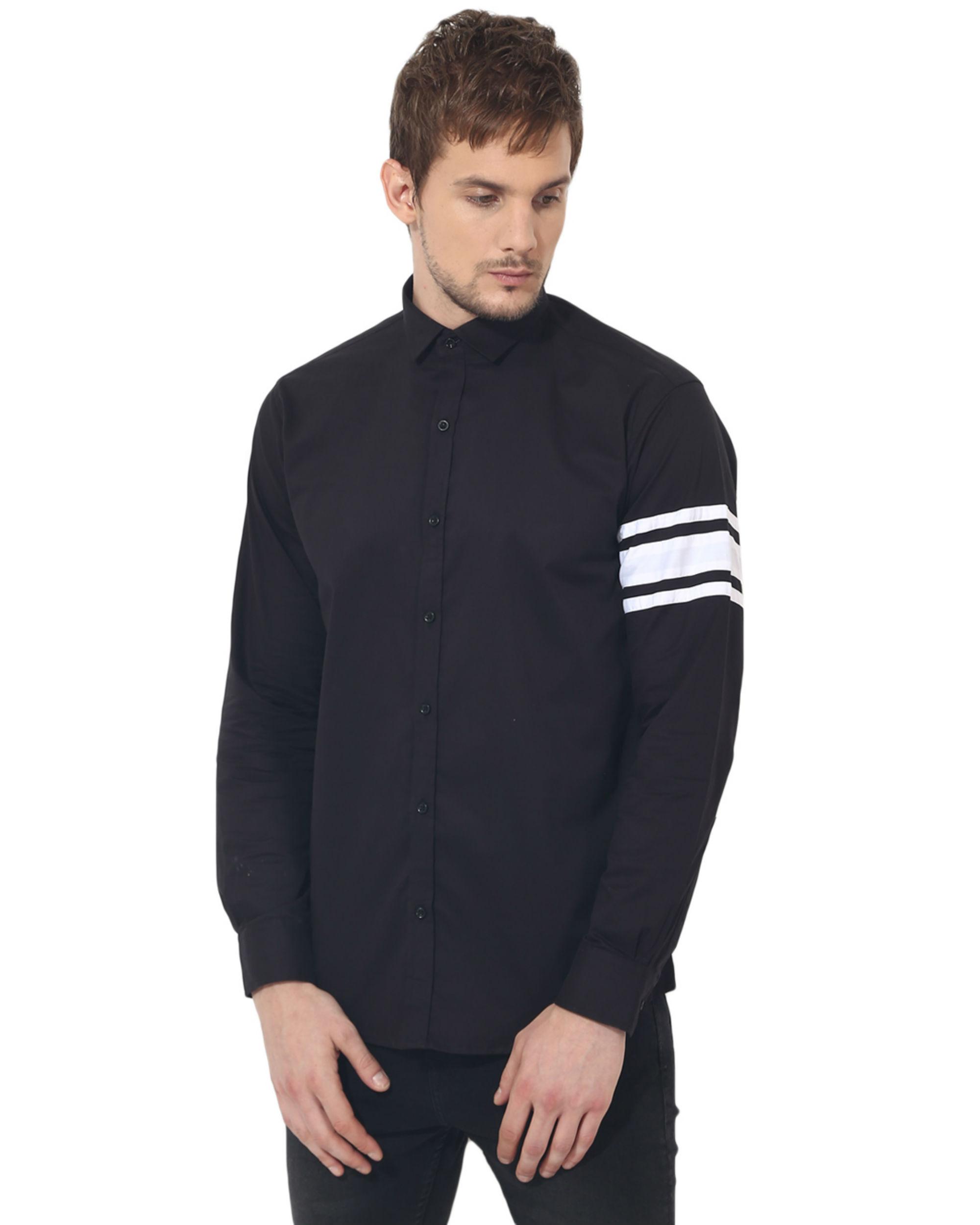 Black sleeve panel club wear shirt