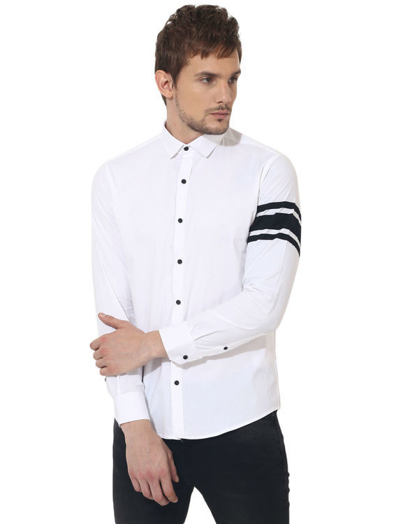 White sleeve panel club wear shirt