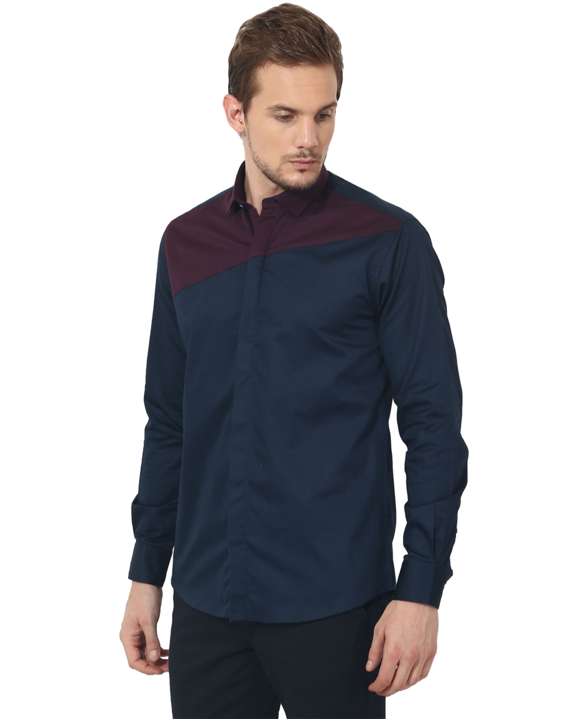 Maroon/blue panel club wear shirt
