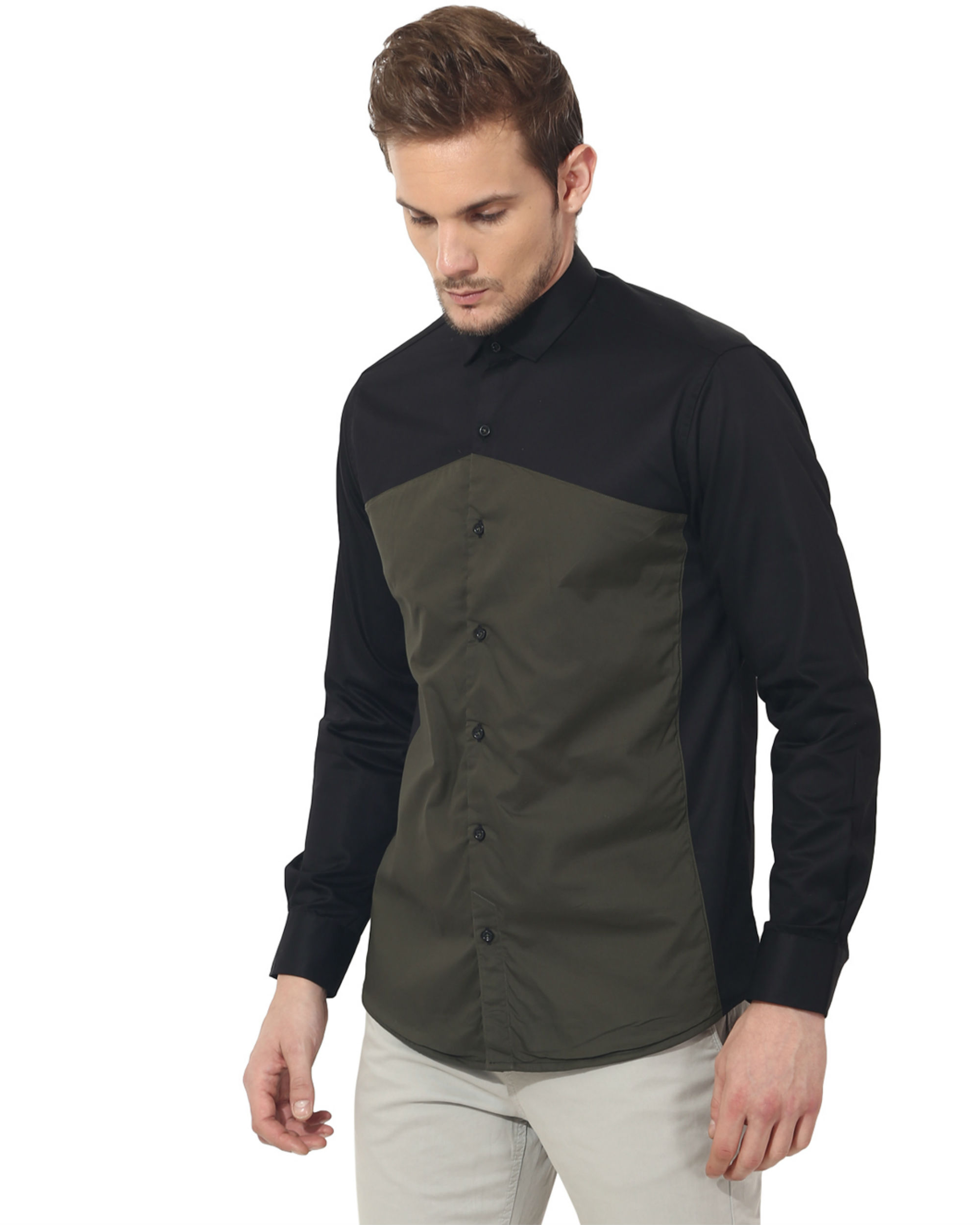 Olive triangle panel club wear shirt