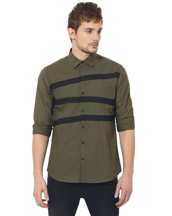 Olive stripes panel club wear shirt