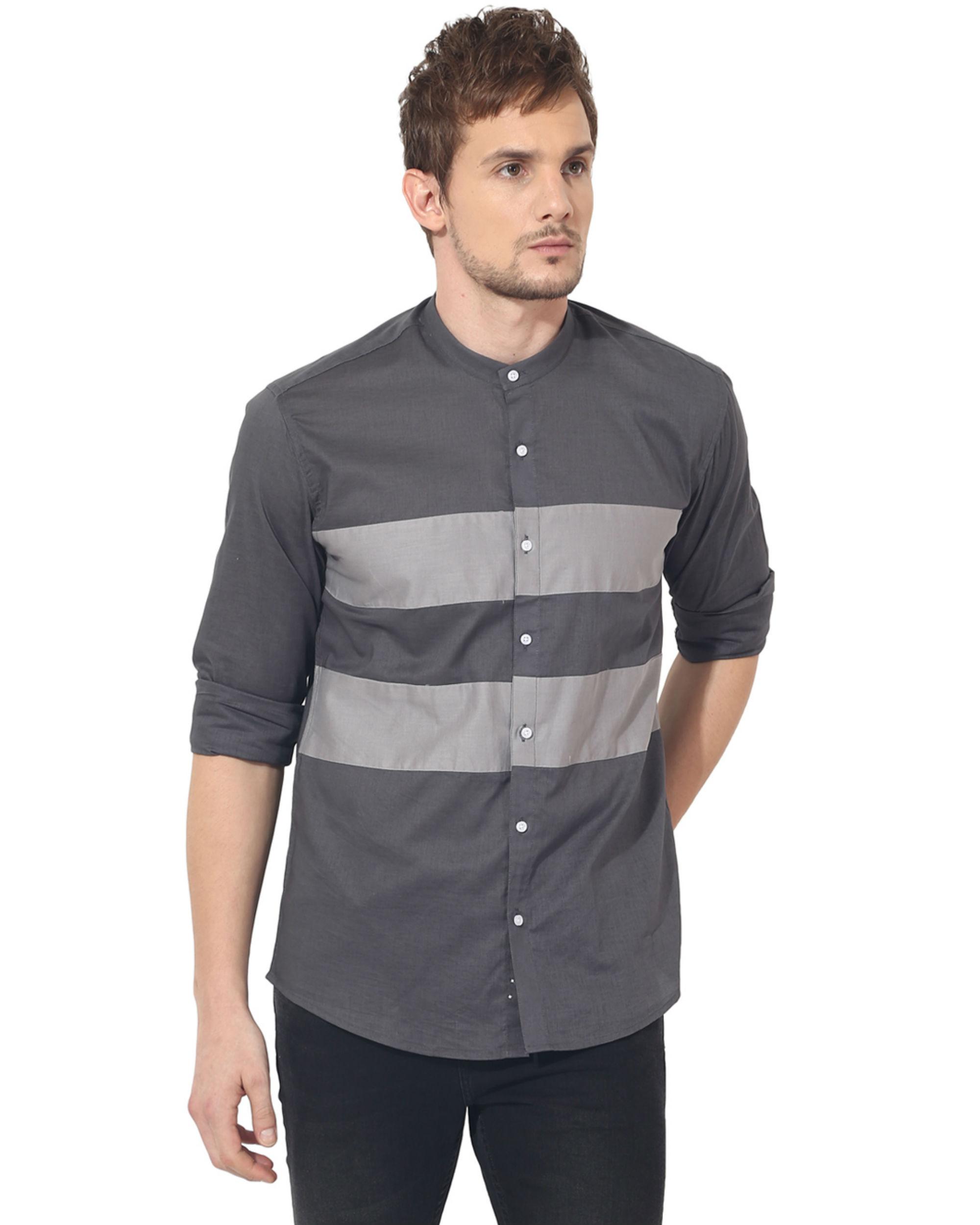 Grey two stripes panel club wear shirt