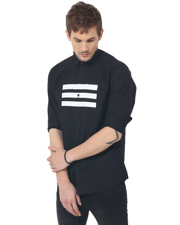 Black three stripes panel club wear shirt