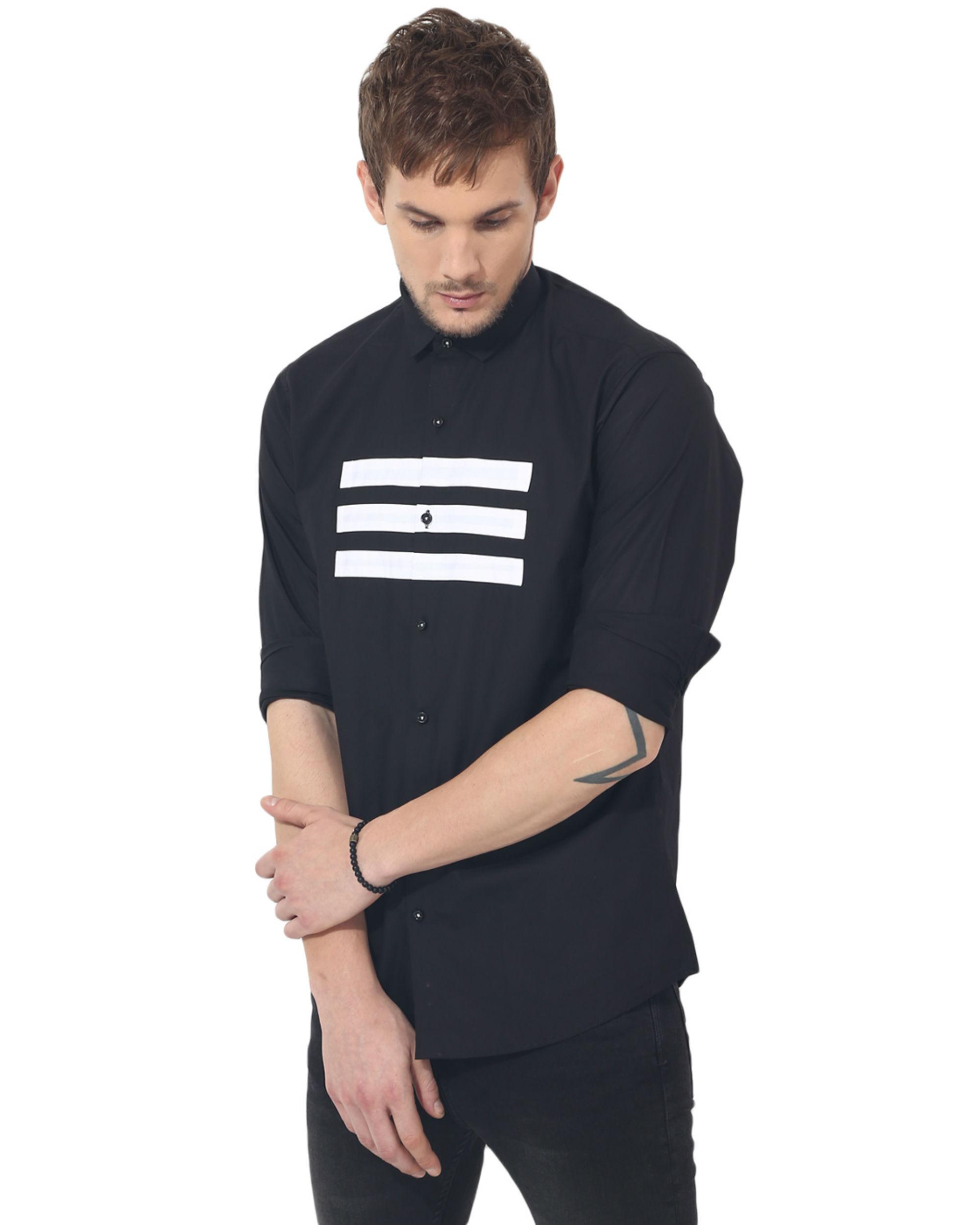 Black three stripes panel club wear shirt