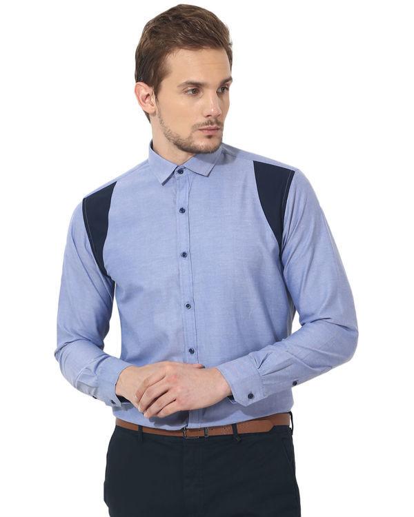 Blue shoulder patch panel club wear shirt