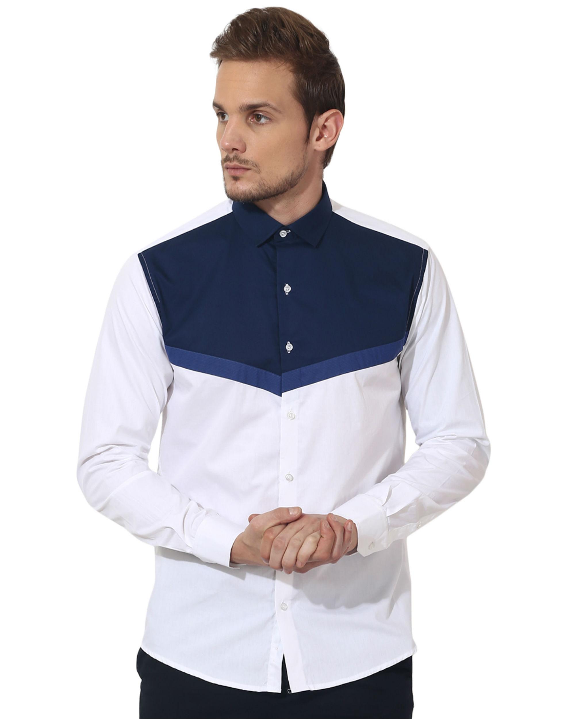 White/blue triangle panel club wear shirt
