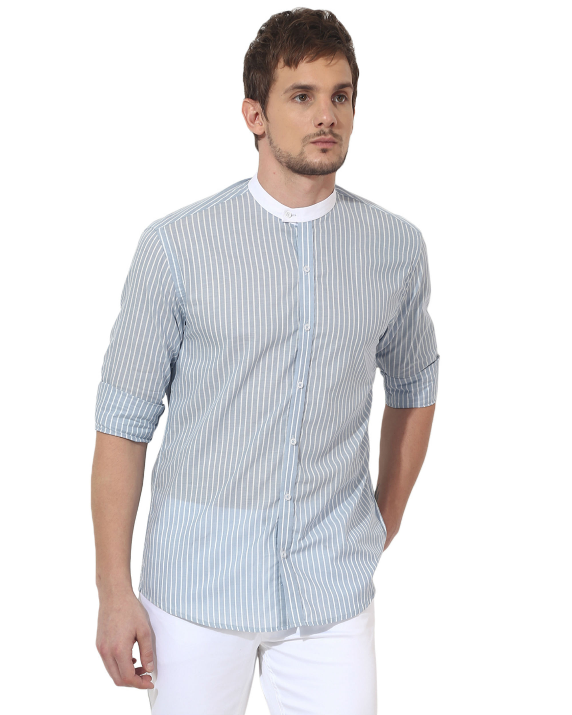 Sky blue executive collar stripes panel club wear shirt