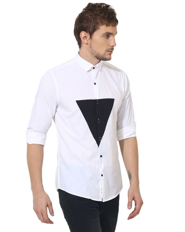 White/black triangle panel club wear shirt