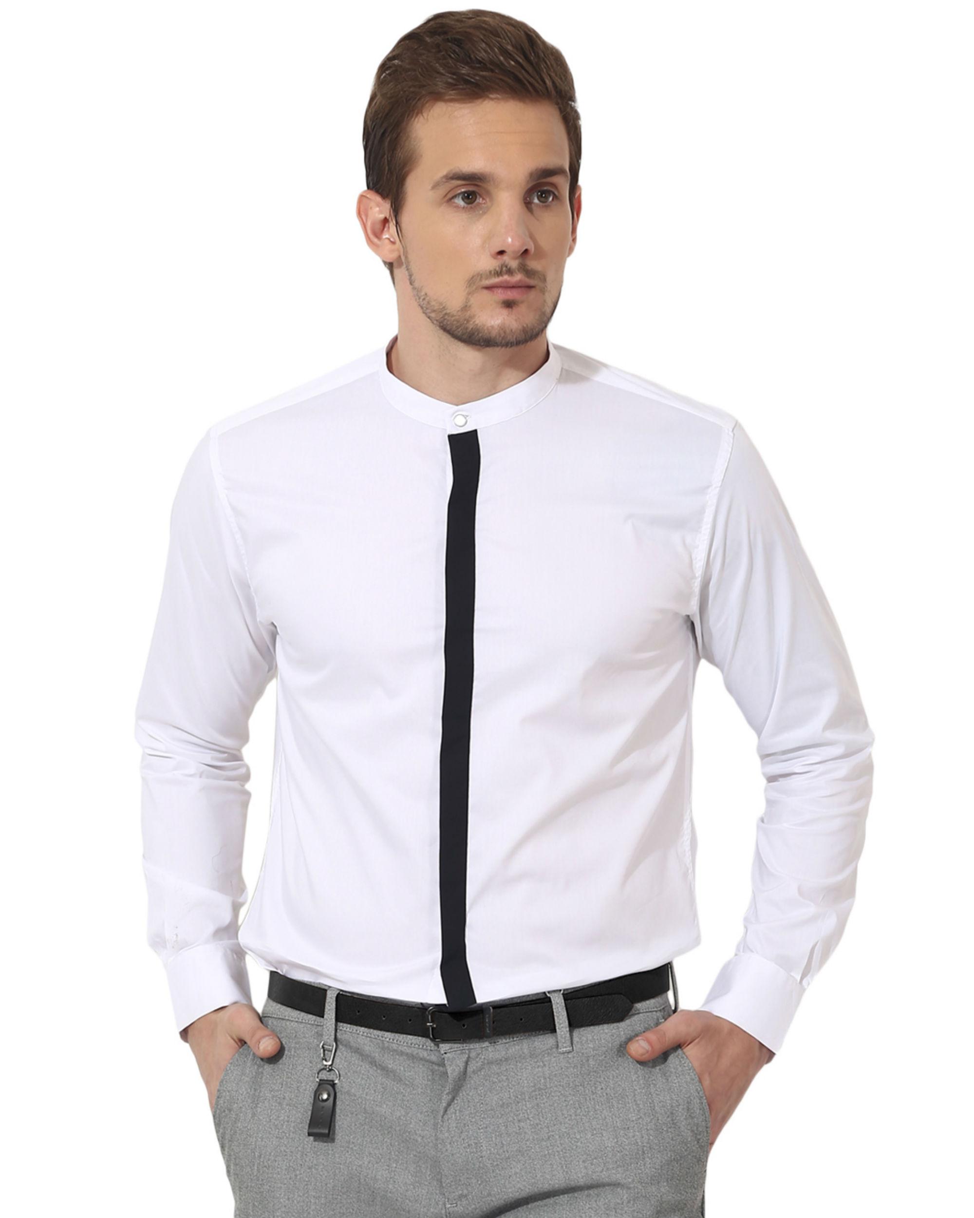 Black stripe - white panel club wear shirt