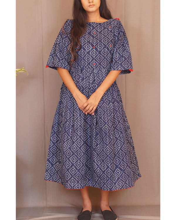 Floral polka gathered indigo dress