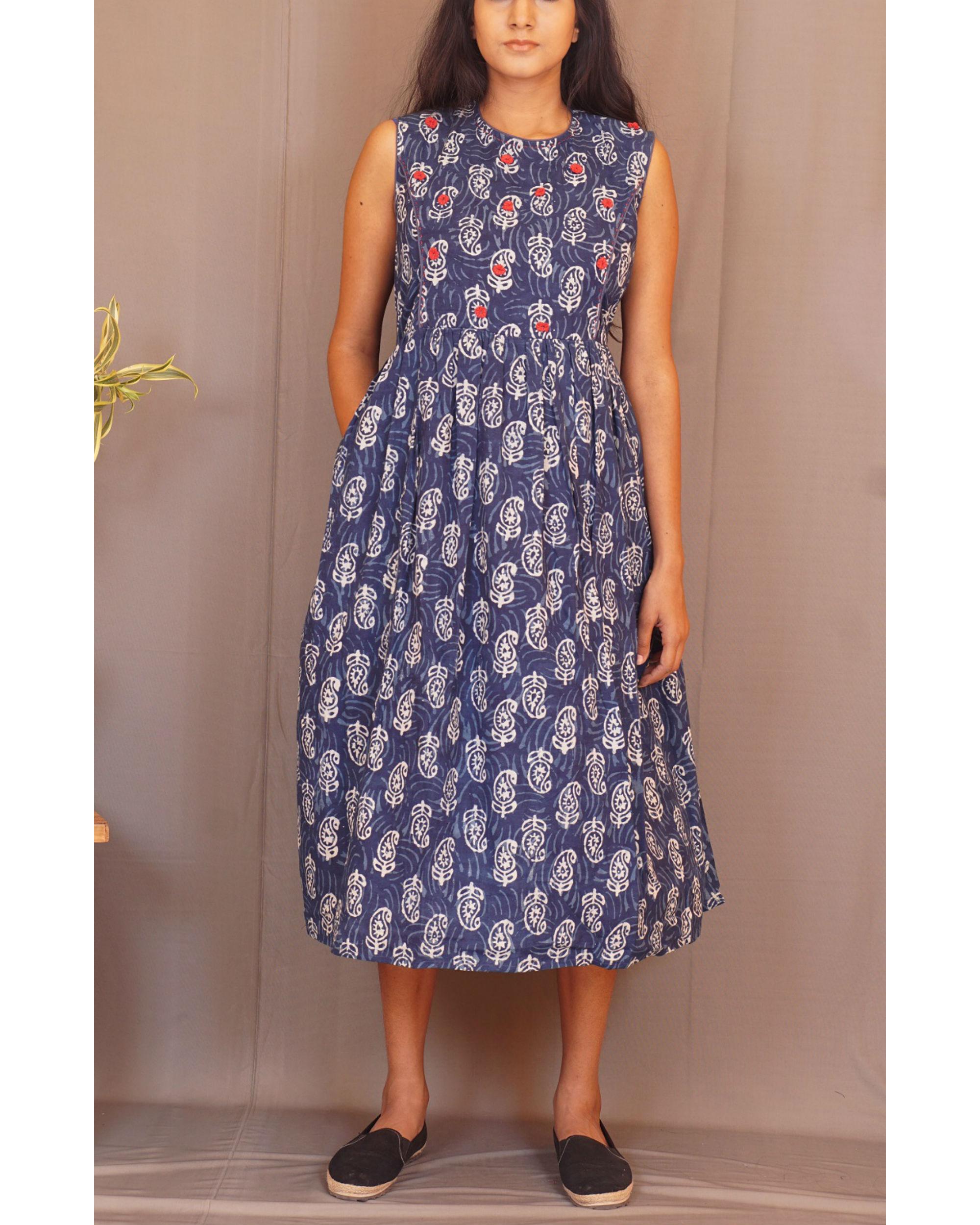Floral paisley gathered sleeveless indigo dress