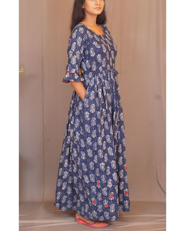 Floral paisley gathered indigo dress