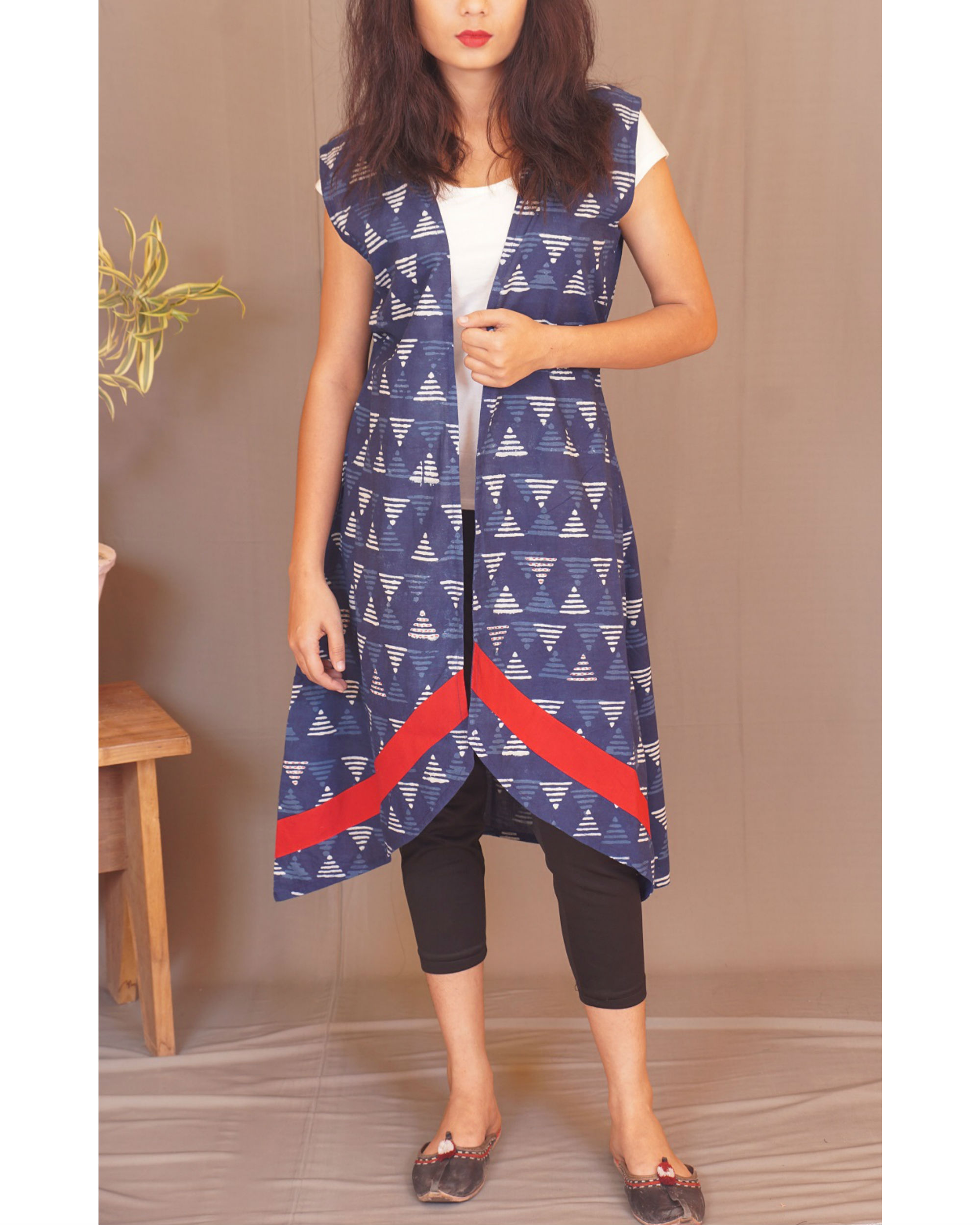 Geometry kantha indigo shrug