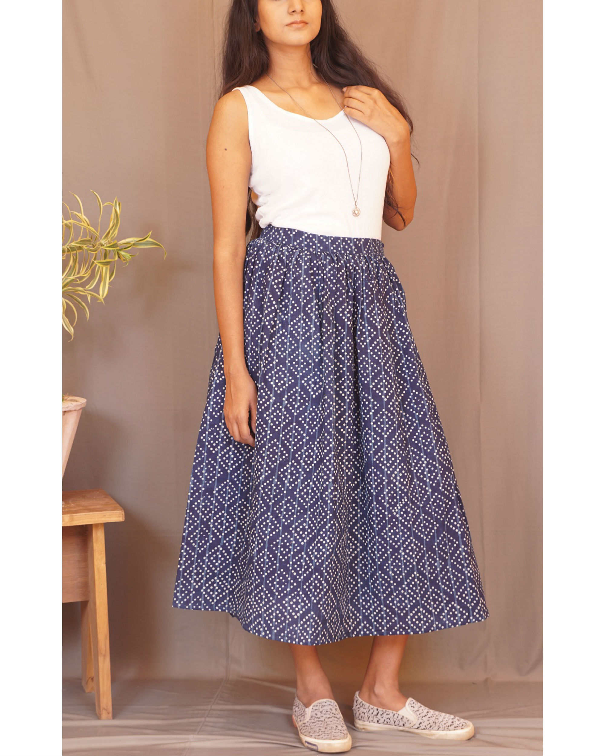 Polka indigo skirt