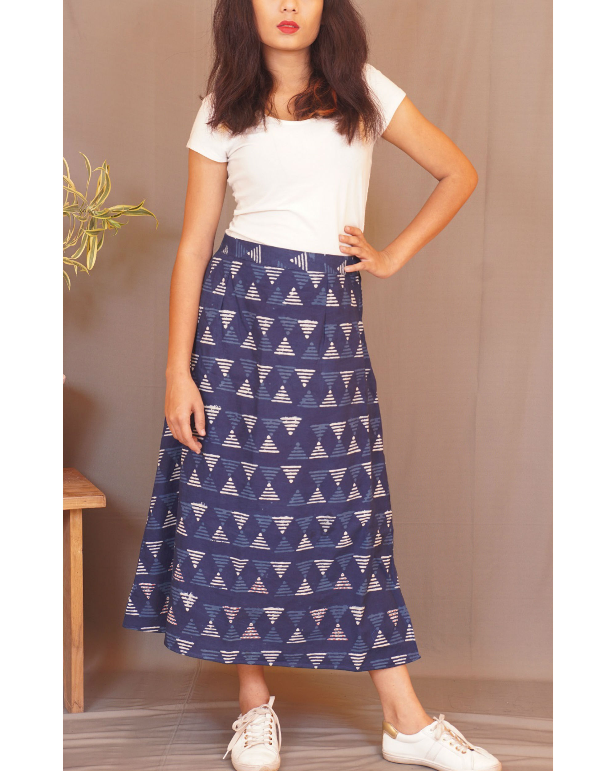 Geometry kantha indigo skirt
