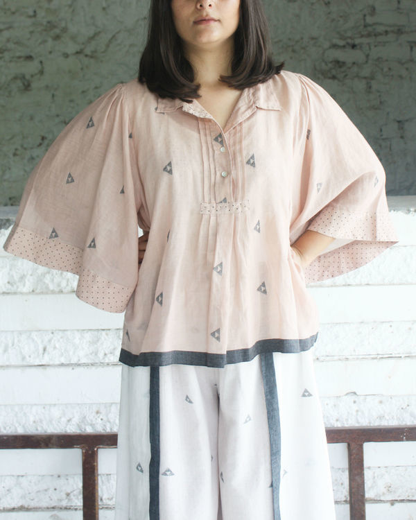Pink gathered sleeve top