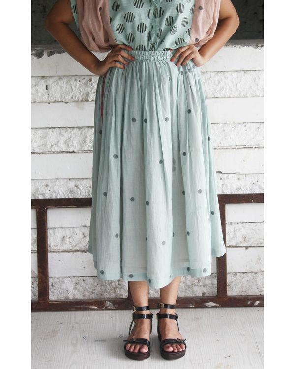 Green jamdani skirt