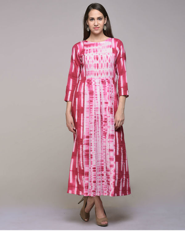 Fuchsia clamp dyed pleated cotton dress