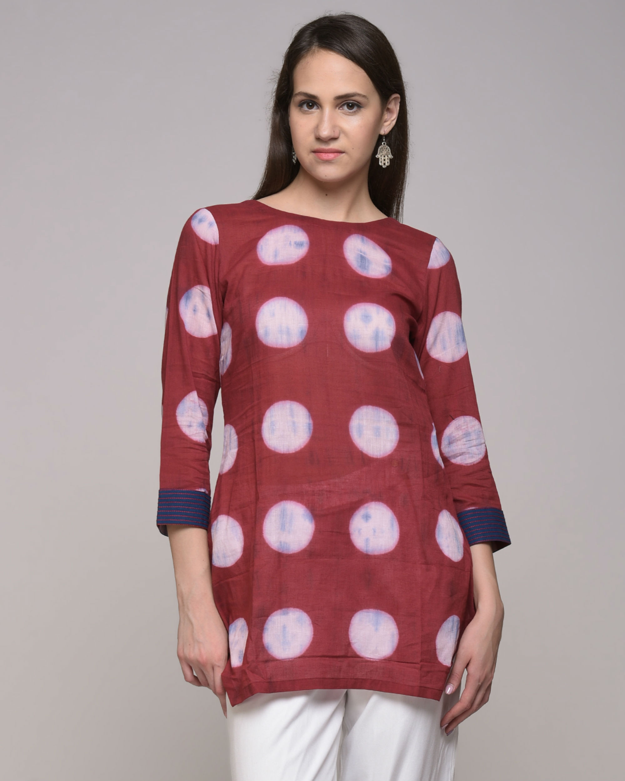Clamp dyed polka dot embroidered tunic