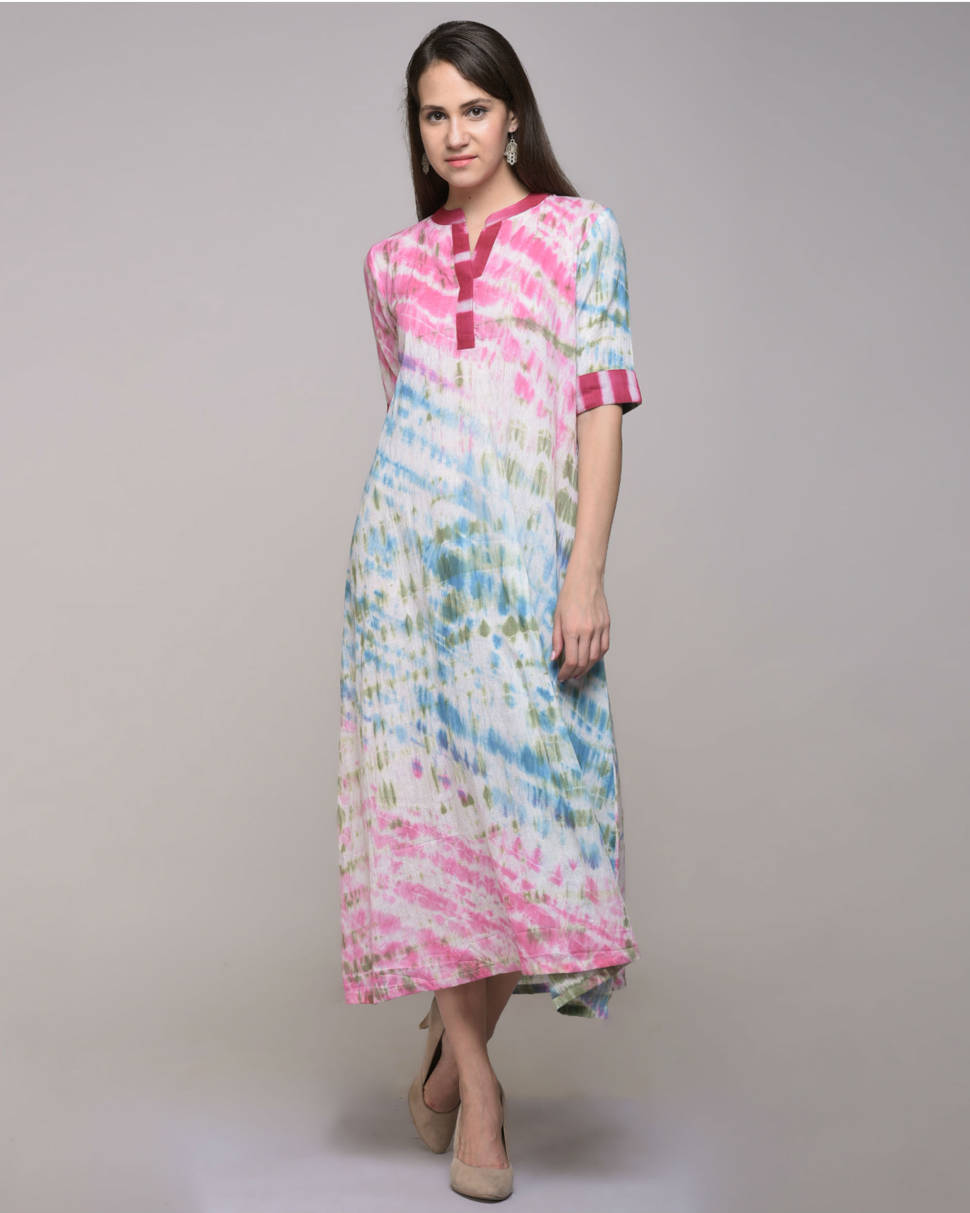 Multi color dress with belt