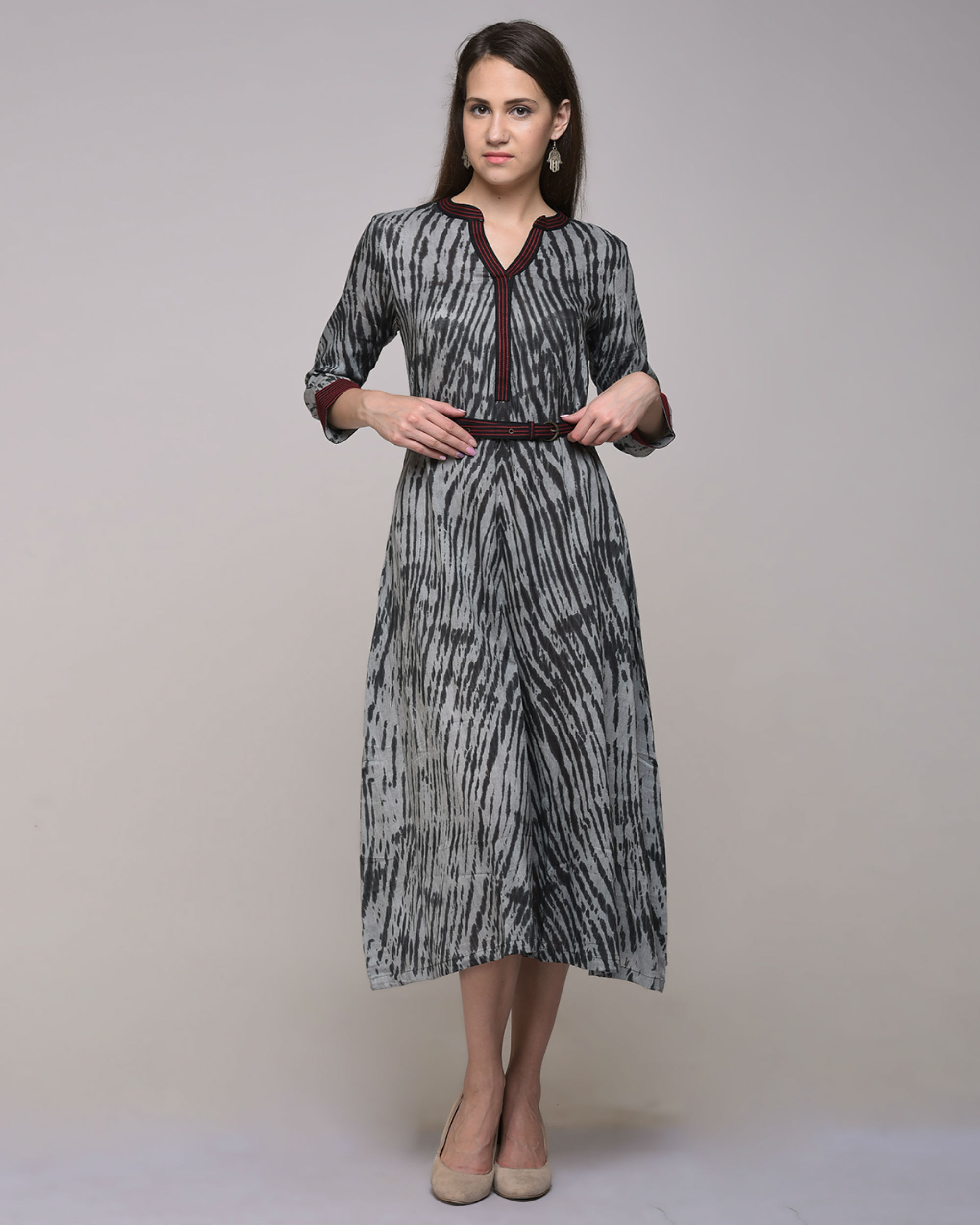 Black clamp dyed embroidered dress with belt