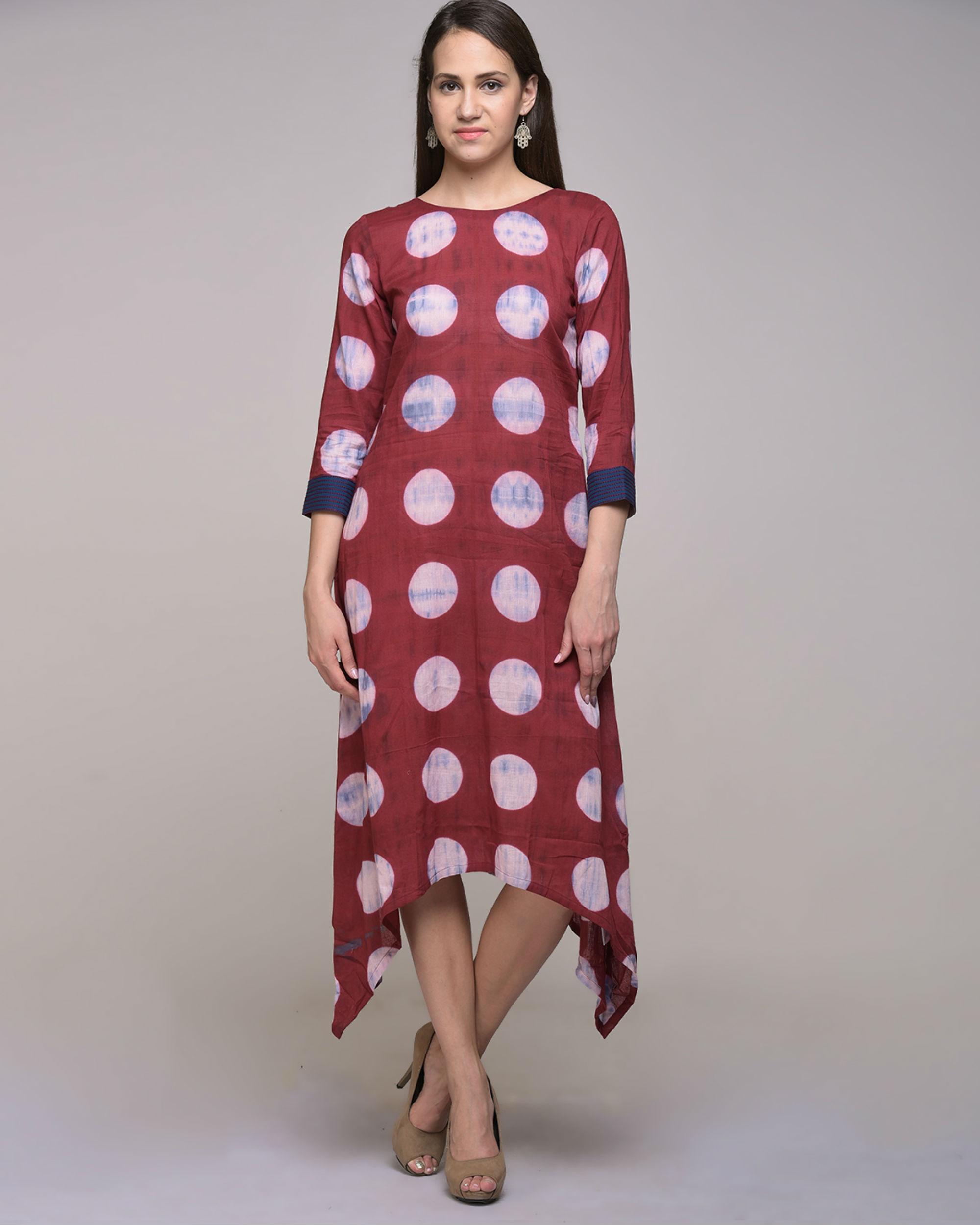 Clamp dyed polka dot asymmetrical dress