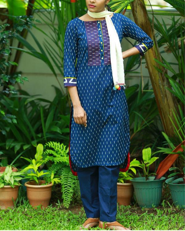 Contemporary indigo blue printed kurta