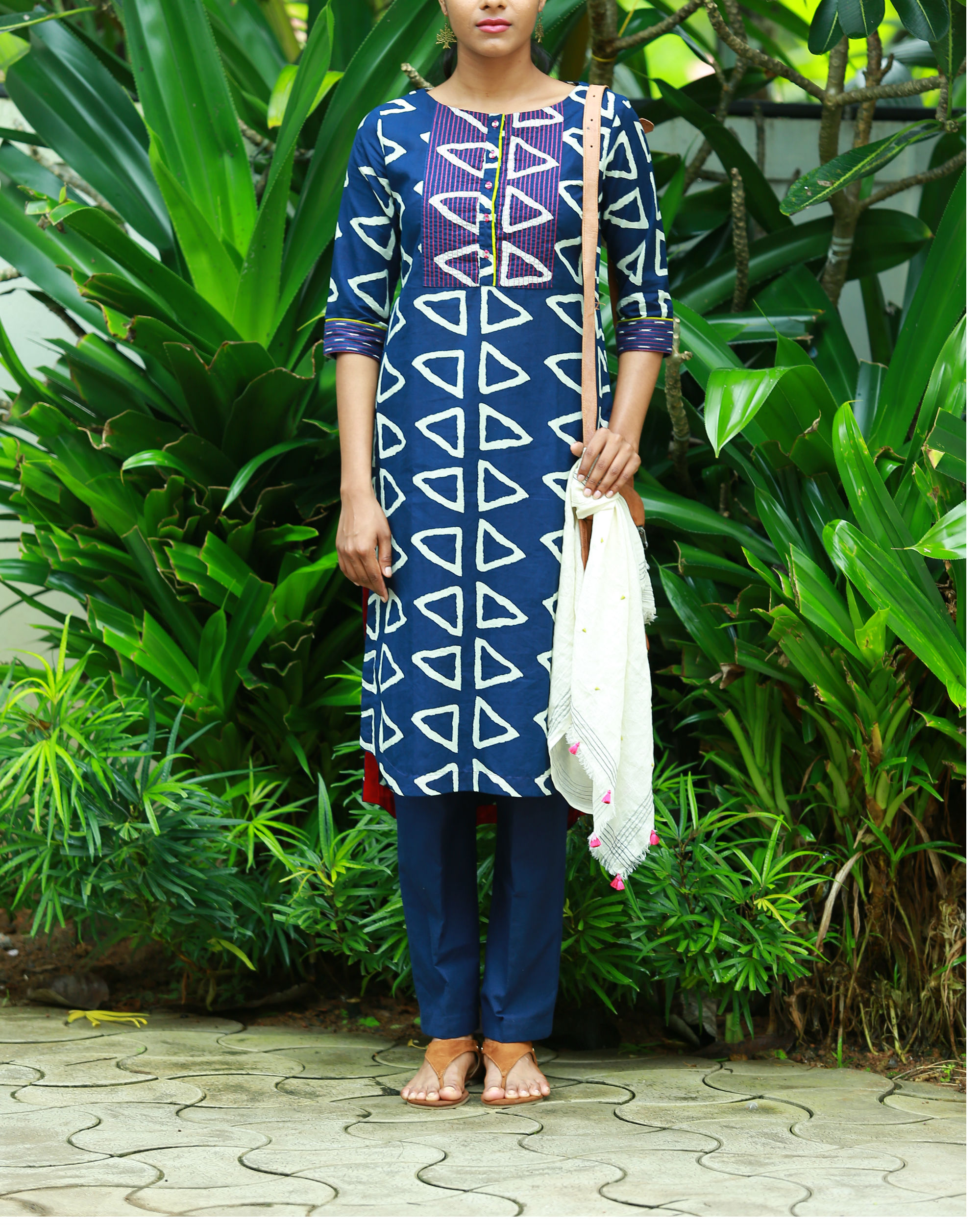 Triangle indigo blue printed kurta