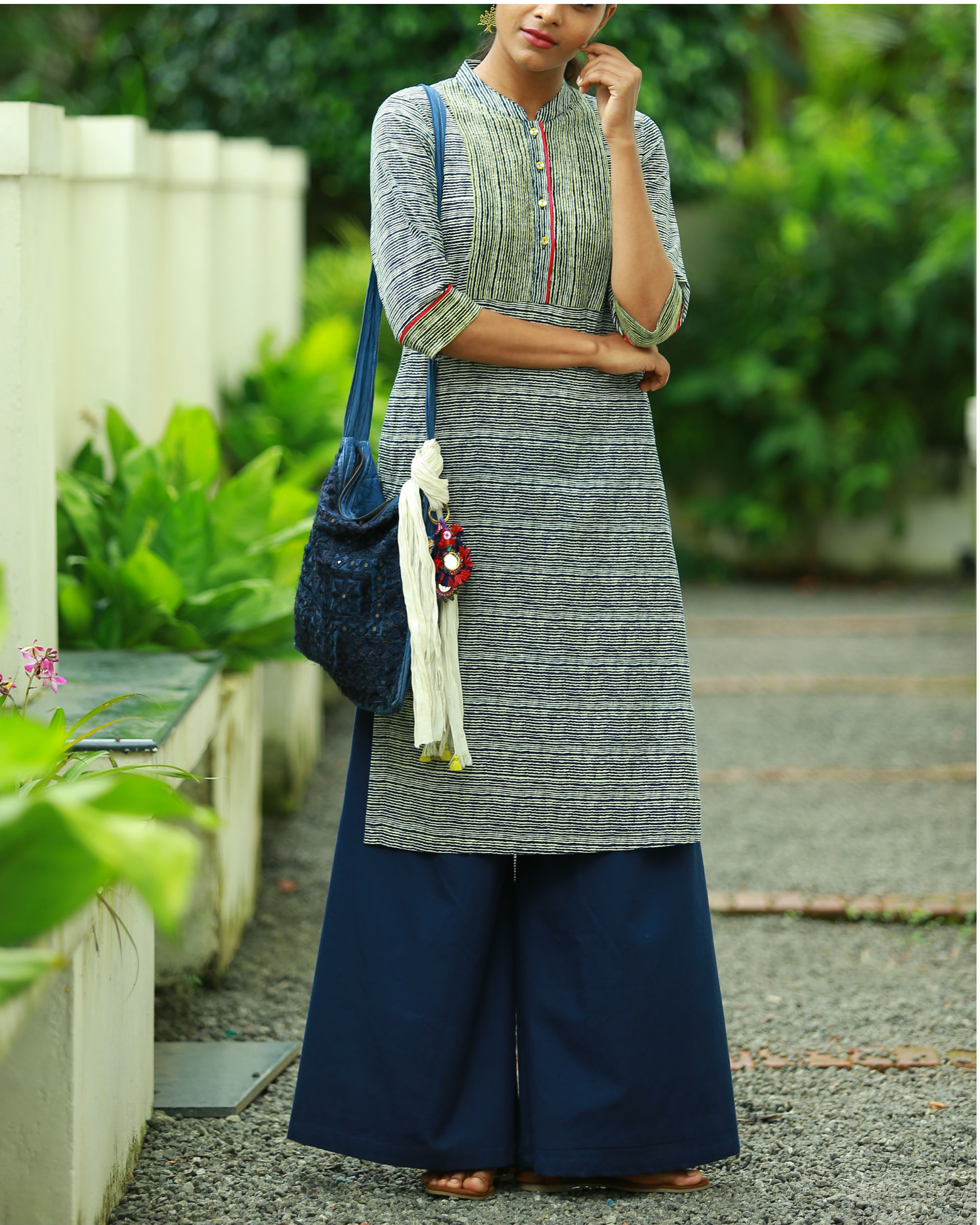 Striped indigo blue printed kurta