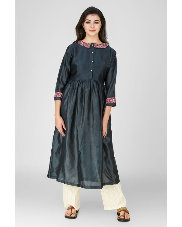 Classic teal floral embroidered kurta