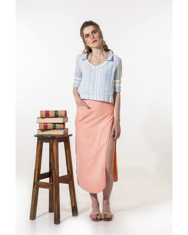 Peach wrap-a-round skirt