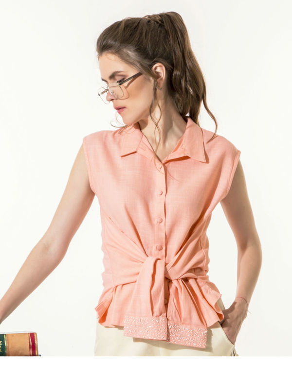 Peach shirt top