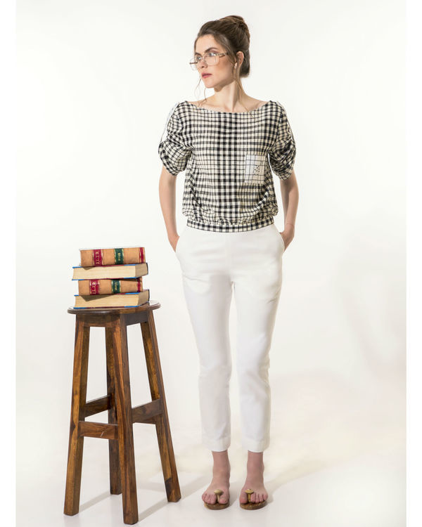 White slim-fit pants