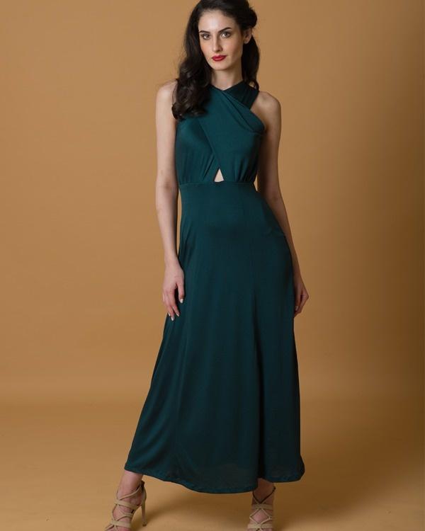 Green criss cross gown