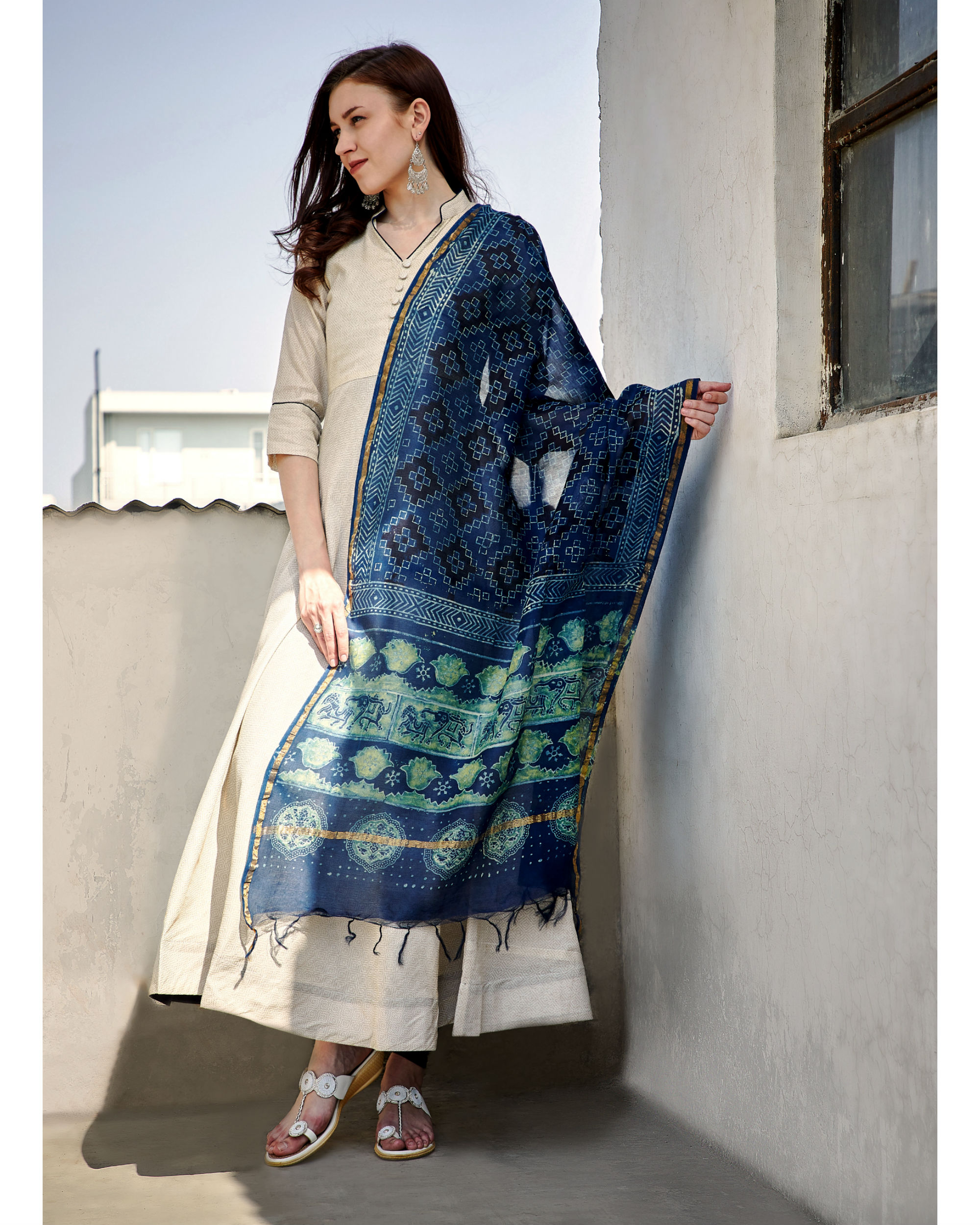 Antique white tunic with dupatta