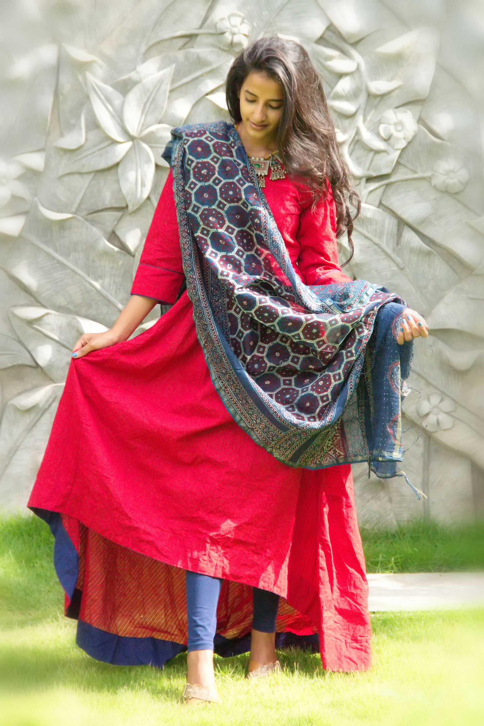 Berry red tunic with dupatta