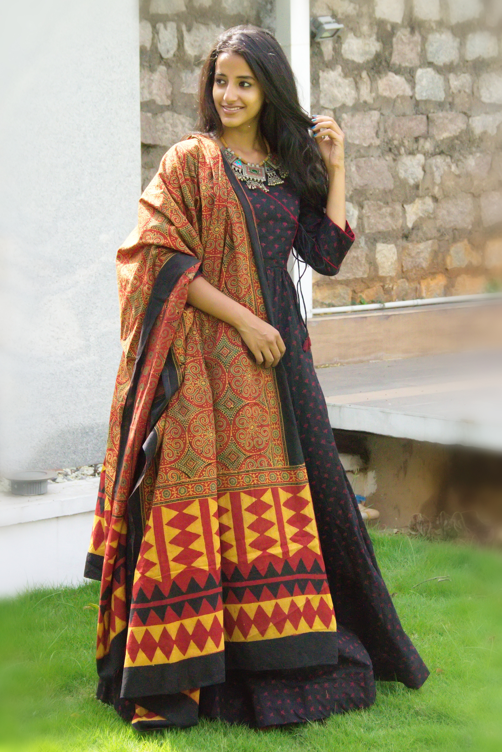 Black angrakha tunic with dupatta