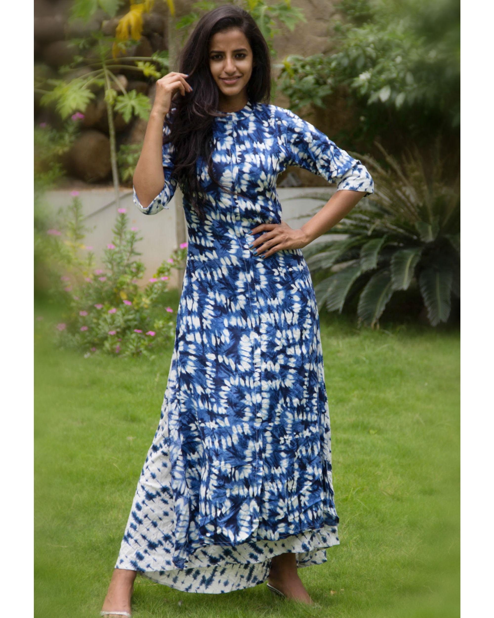 Sapphire and white paneled dress