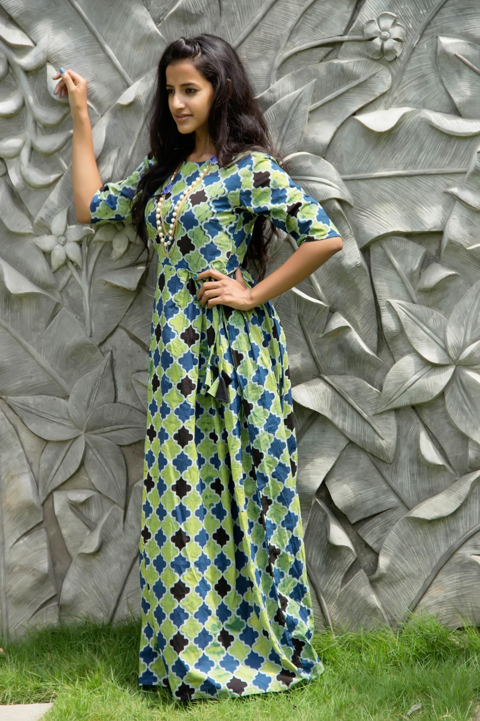 Sea green geometric tassel dress