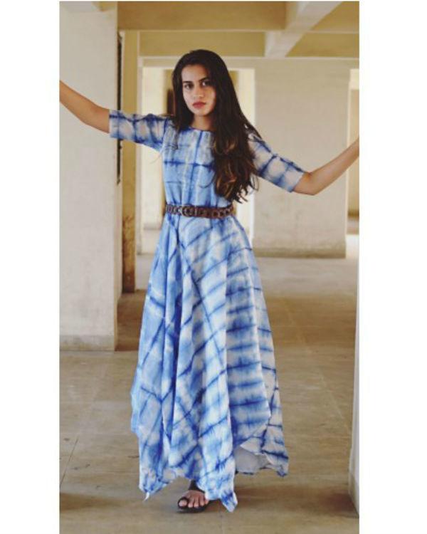 Blue fine line dress