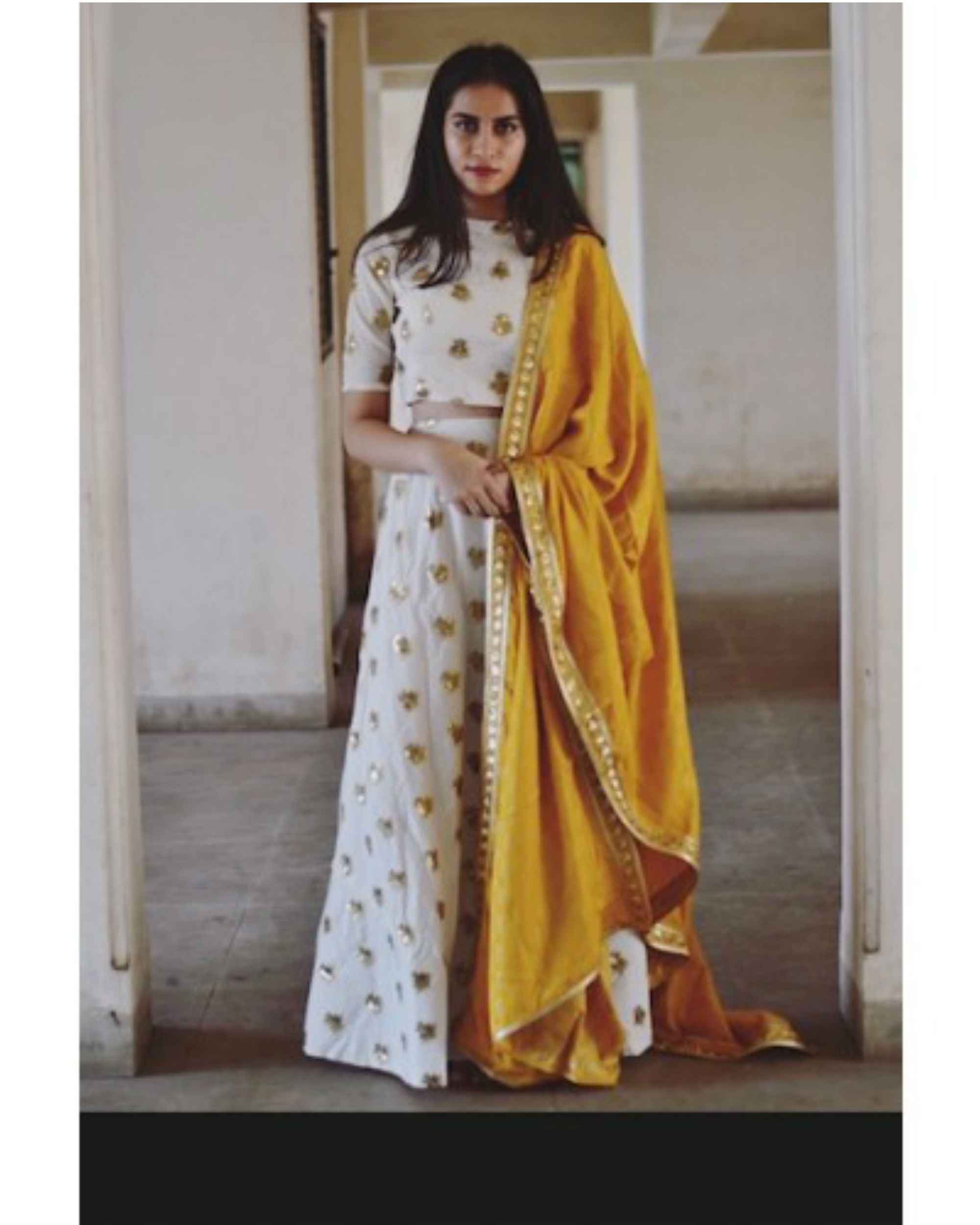 queen gold yellow ghaghra set with dupatta