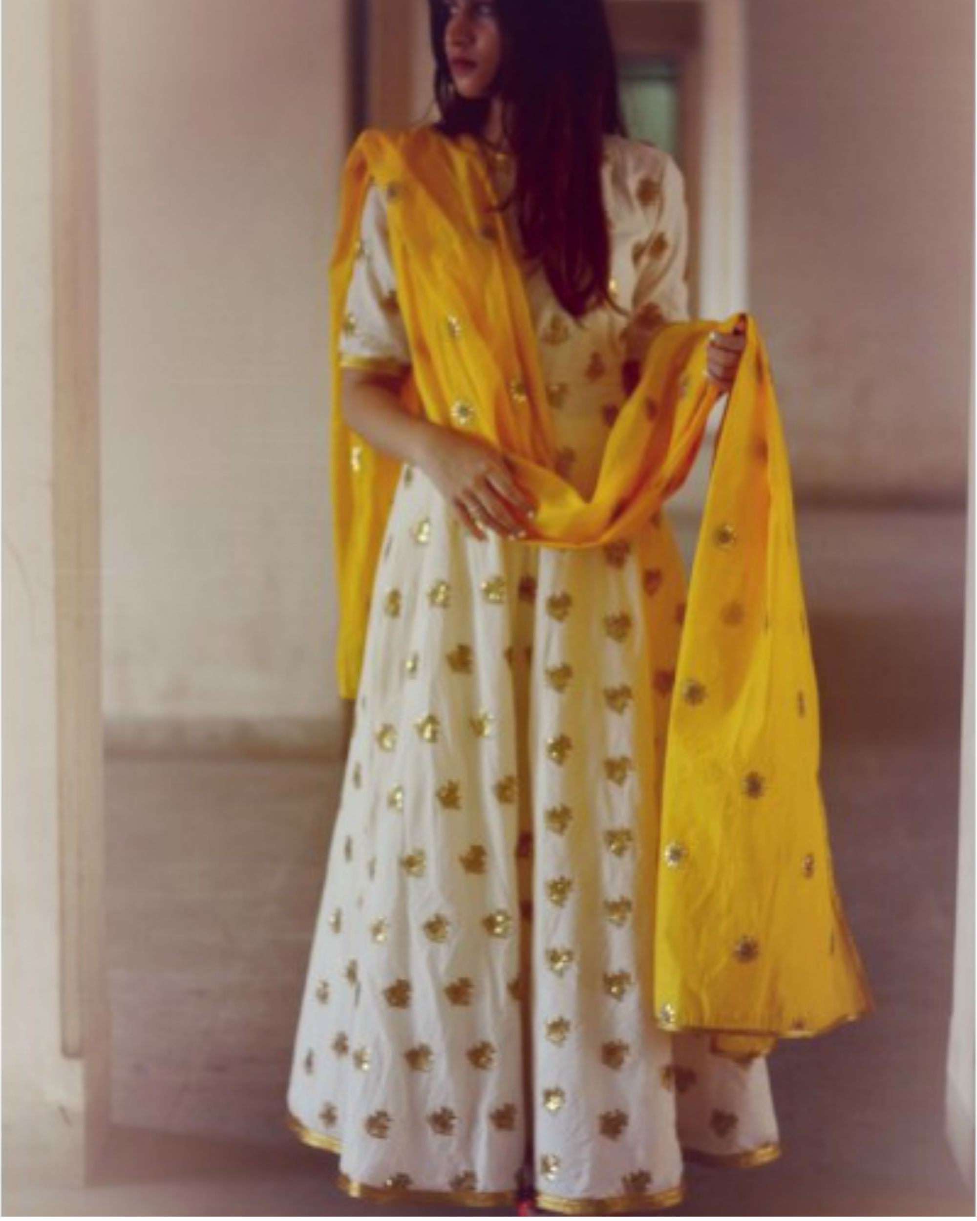 Desi gold yellow dress with dupatta